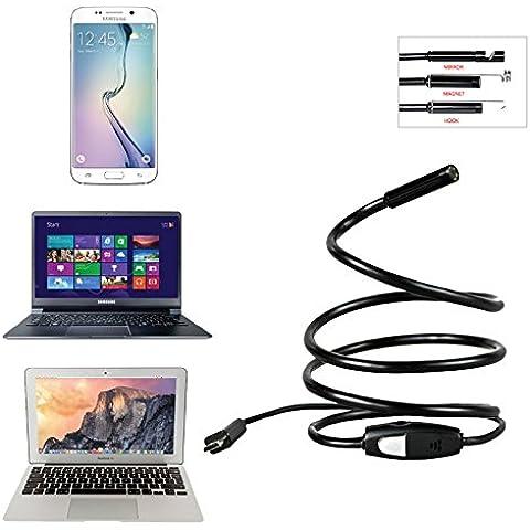 gintai 7mm rígido USB flexible endoscopio cámara impermeable serpiente boroscopio Cámara de inspección Microscopio para portátiles y USB OTG Android Smartphones compatibles con 6LED y cable de 1m/3.5m