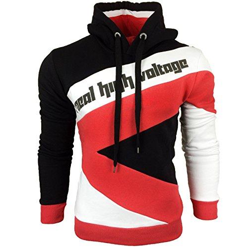 Herren Pullover Mix 4 Langarm Grobstrick Feinstrick Pulli Sweat Schalkragen Model 4727 Schwarz / Weiß