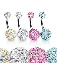 Alexandrie - Lote de 4 piercings para el ombligo, cristales de Swarovski
