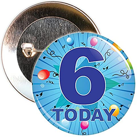 Blue 6th Birthday Badge in a choice of sizes (75mm)