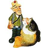 XL Spardose - Angler mit Fisch - stabile Sparbüchse aus Kunstharz - Sparschwein - lustig / witzig - Angel - Sommerurlaub - Urlaub - Angelurlaub - Fischer Angler Verein - Angelverein - Angelschein - Fischerprüfung