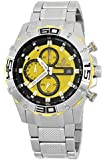 Burgmeister Men's Quartz Watch with Yellow Dial Analogue Display and Silver Stainless Steel Bracelet BM534-191