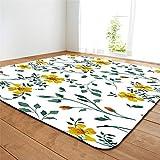 CHAOSE Leichte Weiche Polyester-Baumwolle Bedruckte Fläche Teppich Bodenmatte 3D Kunst Blume Für Wohnzimmer und Schlafzimmer (Kleine gelbe Blume, 80 x 50 in(203.2 x 147.3 cm))
