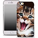 OOH!COLOR® Design Case para IPHONE 5 y 5S, SE Carcasa de Silicona APE001 Gato Gatito Animal con dise?o Elástico Transparentne funda protección TPU