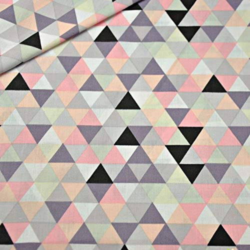 100% Baumwolle Baumwollstoff Dreiecke Rauten Kinderstoff Meterware Handwerken Nähen Stoff 100x160cm 1 Meter (Dreiecke Bunt) -