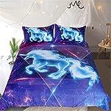 JSGJSJT Bettwäsche 3D Unicorn Bettwäsche Set Galaxy Stars Bettbezug für Kinder Vivid Printed 3pcs Bettwäsche Universum Blue Pink Bed Set, Doppel 180cmx253cm