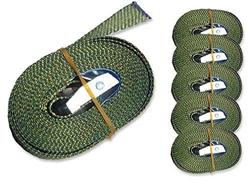 iapyx® 6 Spanngurte Zurrgurte 250kg 2.5m 4m 5m 6m mit Klemmschloss Schnellspannung (2.5m, Oliv)