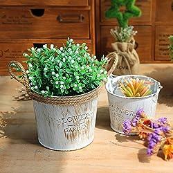 2pcs Haushalt Vintage Chic Metall Handwerk Hanf Schnüre Zwillinge Eisen Eimer Töpfe Dekoration Ornamente Sukkulenten Lagerung Blumentöpfe Vasen auf den Tischen in Wohnzimmer Cosmetic Desks Balkone und Gemüsegärten platziert