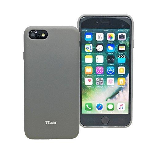 iPhone 7Fall, Roar, Buntes Jelly [True Fit] [Full Matt] [Smooth Touch] [Rutschfeste] Polycarbonat Gummi Silikon Gel TPU Full Body Weiche Schutzhülle Cover-für iPhone 7(11,9cm), Grau (Iphone Tech-matte Für)