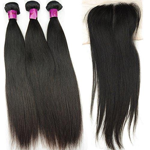 Noble Queen Cheveux brésiliens vierges Trame de cheveux avec fermeture en dentelle brut 10 A non transformés Cheveux humains tissage droite 3 pcs Cheveux Lots Fermeture 1pièce sur le dessus du milieu gratuit supplémentaire 4 packs Lot)
