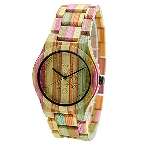 Bewell Mode Colored Bamboo Hölzerne Uhren Geschenke für Liebhaber Quartz
