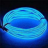 Amasawa luz de neón el alambre con recargable Pack – resistente al agua luz línea de cables luminoso para fiestas y para decoración de Halloween(Azul 5m).