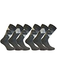 Mens 6 Pair Pack KATO Quality Warm Thermal Wool Argyle Patterned Boot Socks