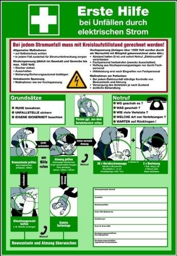 LEMAX® Schild PVC Erste Hilfe bei Unfällen durch elektrischen Strom 595x410mm