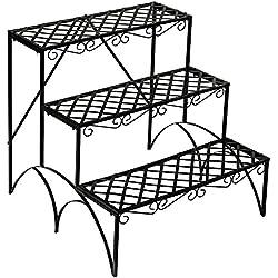 TecTake Etagère de Jardin pour Plantes escalier en Fer 3 Niveaux env. 60x60x60cm - Charge Max: env. 30 kg - diverses modèles (Droit | no. 401711)