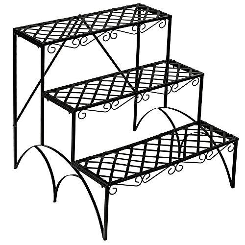 TecTake Estantes para plantas escalera metálica macetas flores 3 niveles - ca. 60x60x60cm - carga máxima: aprox. 30 kg - varios modelos - (recta | no. 401711)