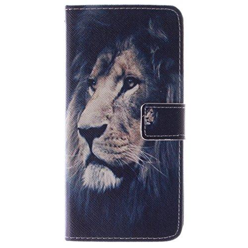 iPhone 6 Plus Coque, iPhone 6s Plus Coque, Lifeturt [ Amandier ] Coque Dragonne Portefeuille PU Cuir Etui en Cuir Folio Housse, Leather Case Wallet Flip Protective Cover Protector, Etui de Protection  E02-Lion80303