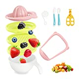 Balla Bébé 6 in 1/10 in 1 Mash and Serve Bowl Set, Fresh Baby Food Maker   Colors Selectable   10 Pcs Set with Extra Egg Separator, Baby Food Scissors, Heat Sensitive Fork + Spoon