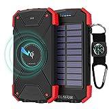 BLAVOR Batterie Externe Solaire 10000mAh Chargeur Portable avec Panneau Solaire, Splashproof, Antipoussière, Antichoc Power Bank avec Double Lampe de Poche, Port d'entrée de Type C, Boussole (Rouge)...
