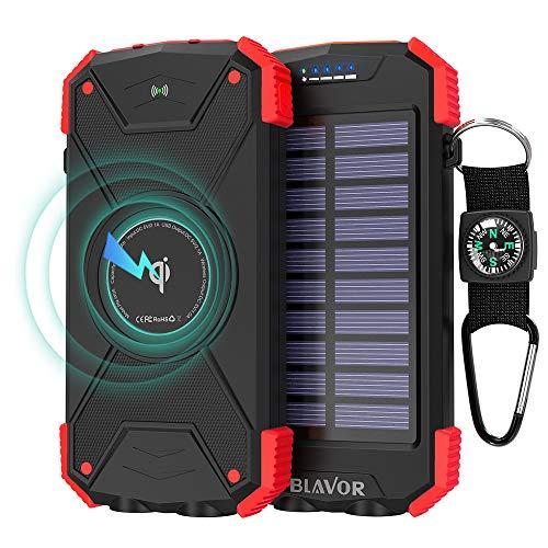 Outdoor Wireless Power Bank,Solar Ladegerät,10000mAh Externer Akku,Tragbare Notfall-Energie mit Type-C Eingangsports Dual LED-Lich,Kompass für iPhone,Samsung und andere Smartphones/Handys (Rot)