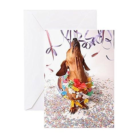 CafePress–Eine Isolierte Dackel auf ein weiß BAC–Grußkarte, Note Karte, Geburtstagskarte, innen blanko, matt