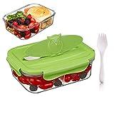 Tritan Plastico 3-compartimentos Hermetico Recipientes para alimentos, 100% sin bpa, Seguro para microondas, congelador, lavavajillas (1,68 L, Rectángulo, Verde)