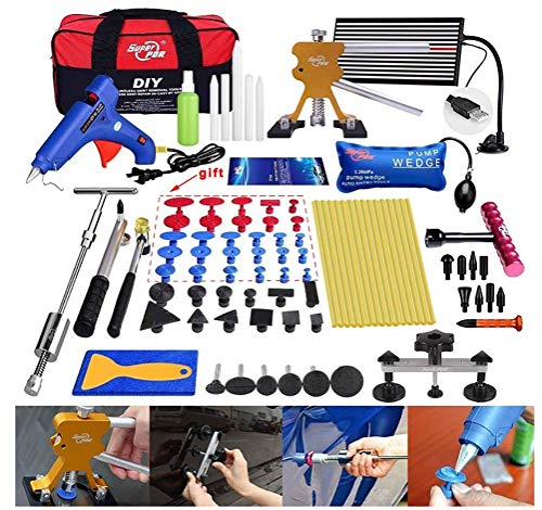 QINUO Pro Paintless Dent Removal Tools Kits PDR Slider Hammer Dent Puller Kits Golder Dent Lifter LED Reflector Board Tool Bag for Car Hail Damage Remover - Kit-tool Bag