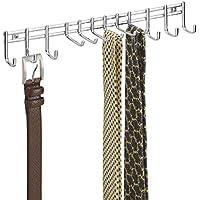 mDesign - Perchero organizador del armario, guarda corbatas, cinturones - de pared - Cromado