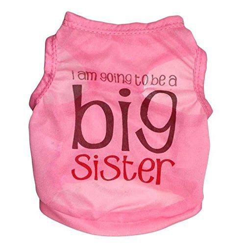 Ollypet Best Seller Mädchen Hund Kleidung Shirt Big Sister Kleinen Haustier T Shirt Funny Outfit XS/S/M/L, L, Rose - Hund Mädchen-kleidung Kleiner