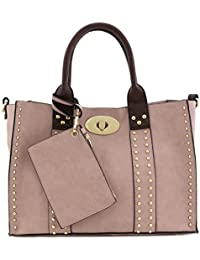 3Pc Set Studded Turn Lock Tote Bag With Crossbody (Dusty Pink) By Alyssa