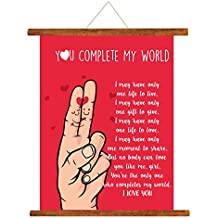 YaYa cafe Valentine Greeting Card Love Romantic for Girlfriend Wife Boyfriend Husband You Complete My World Scroll Gift - 18 x 24 inches