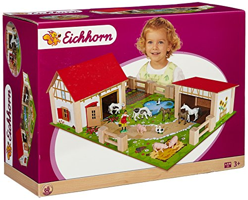 Preisvergleich Produktbild Eichhorn 100004308 - Holz-Bauernhof, inklusive Zubehör, 25-teilig, 36 x 51 cm, mit Figuren und 2 Gebäuden