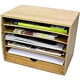 A4 Corbeille à Courrier 6 Compartiments Bureau Organisateur avec Tiroir Support pour Catalogues