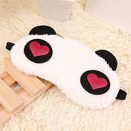 BEARCOLO Schlafmaske, süßer weißer Panda, Schlafmaske, weich, für Reisen, Nickerchen, Mediation, für Damen, Herren, Kinder, Zuhause, Büro, Reisen, Polyester, red Heart, 22cm x 9cm