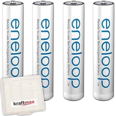 Kraftmax 4er-Pack Panasonic Eneloop AAA / Micro Akkus - Neueste Generation - Hochleistungs Akku Batterien in Kraftmax Akkubox V5, 4er Pack
