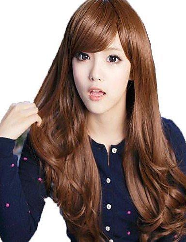 Fashion Long Cheveux Bouclés Ondulés Marron clair côté synthétique Bang Perruques