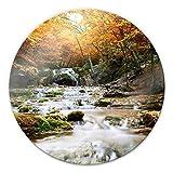 Glasbild Autumn Waterfall Herbst Wasserfall Natur Bach Blätter rund Wall-Art - Ø 30 cm