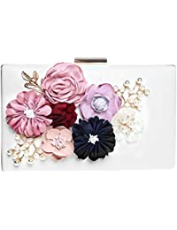 Evening Bags And Clutch For Women, Fashion Road 3D Flower Beaded Prom Evening Clucth Purse White