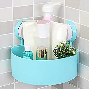247tecksouk® Plastic Interdesign Bathroom Kitchen Storage Organize Shelf Rack Triangle Shower Corner Caddy Basket with Wall Mounted Suction Cup (Assorted Colors)
