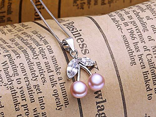 MTWTM Perle Anhänger Silber Mode Schmuck Einfachheit Eleganz Charme Kirsche Persönlichkeit Retro Kreativität Freshwater Pearl Silver Style, Violett -