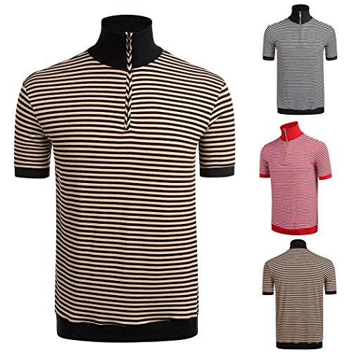 Modfine Herren Poloshirt Gestreift Basic Polo in Schwarz Braun Rot Braun