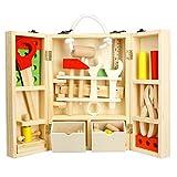 Lommer 37 Stück Holz Reparatur Werkzeug Koffer Set Kinder Werkzeugkasten Rollenspiel Spielzeug Werkzeug Spielzeug Handwerker Kinder Spielzeug für Kinder Jungen und Mädchen ab 3 Jahre