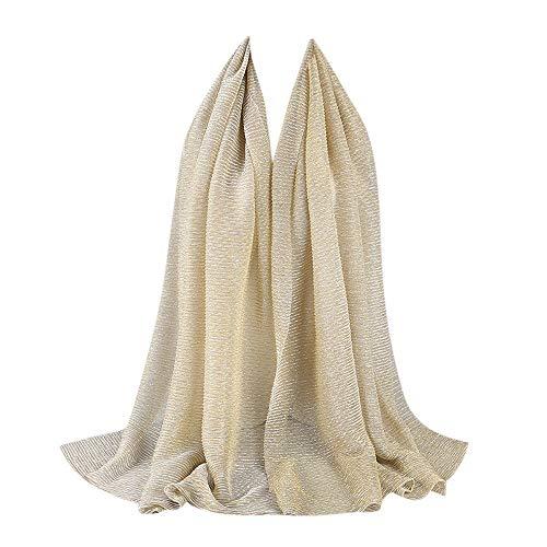 HEETEY Zubehör,Mode Lässige Frauen Elastische Goldseide Mode Hui Menschen Hijab Muslim Schal Kopftuch Crinkle Hijab Schal Schal-weicher Islam-Moslem