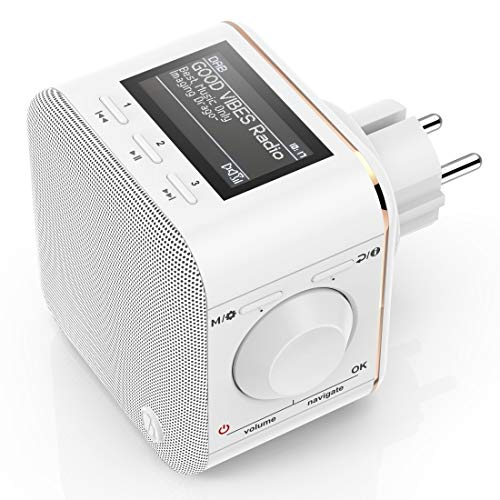 Hama Digitalradio für die Steckdose (DAB/DAB+/FM/Bluetooth/AUX, integr. Radio-Wecker, beleuchtetes Display) Steckdosenradio 'DR40BT-PlugIn'
