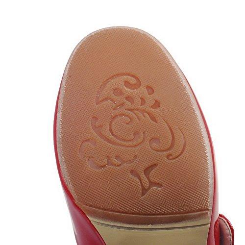 VogueZone009 Donna Puro Pelle Di Maiale Tacco Alto Fibbia Punta Chiusa Punta Quedrata Ballerine Rosso