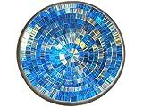 Deko - Schale Glasmosaik rund blau gold gestreift 20 cm