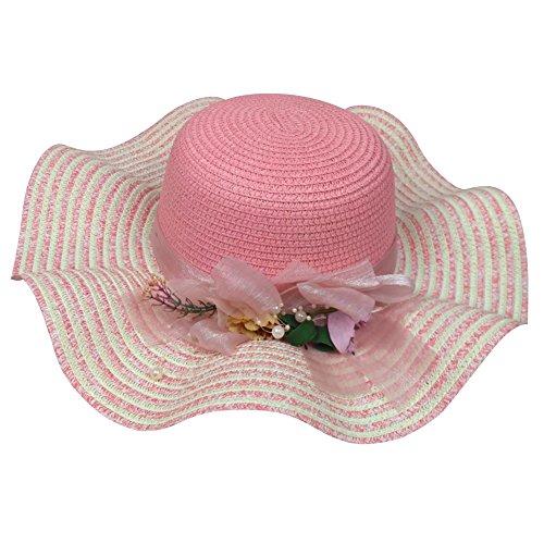 Chapeau de Paille Plage à Large Bord Femme Chapeau de Soleil Panama avec Fleur pink