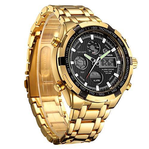 ronograph Quarz Gold Edelstahl Wasserdicht Casual Armbanduhr ... ()