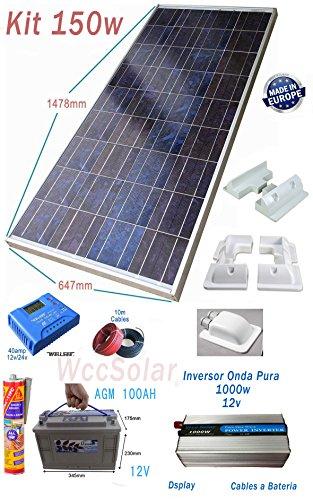 -1 Panel solar Polycristalline 150W -1 Regulador de cargas 40A 12v/24v -1 Inversor onda pura 1000w 12v LCD -1 Cables 6mm 10m -1 Soportes de Montaje x 7 Piezas -1 Adhesivo Sikaflex 11FC Blanco -1 Bateria AGM 100Ah