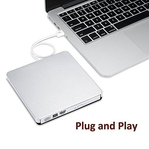 Externes CD/DVD RW Brenner USB2.0 DVD Laufwerk Universal DVD SuperDrive (Original Nue Chip Slim Externe Optische Laptop DVD Burner mit 12,7mm Bauhöhe) für Apple Macbook, Macbook Pro, iMac, Macbook Air oder anderen Laptop/Desktop - Silber